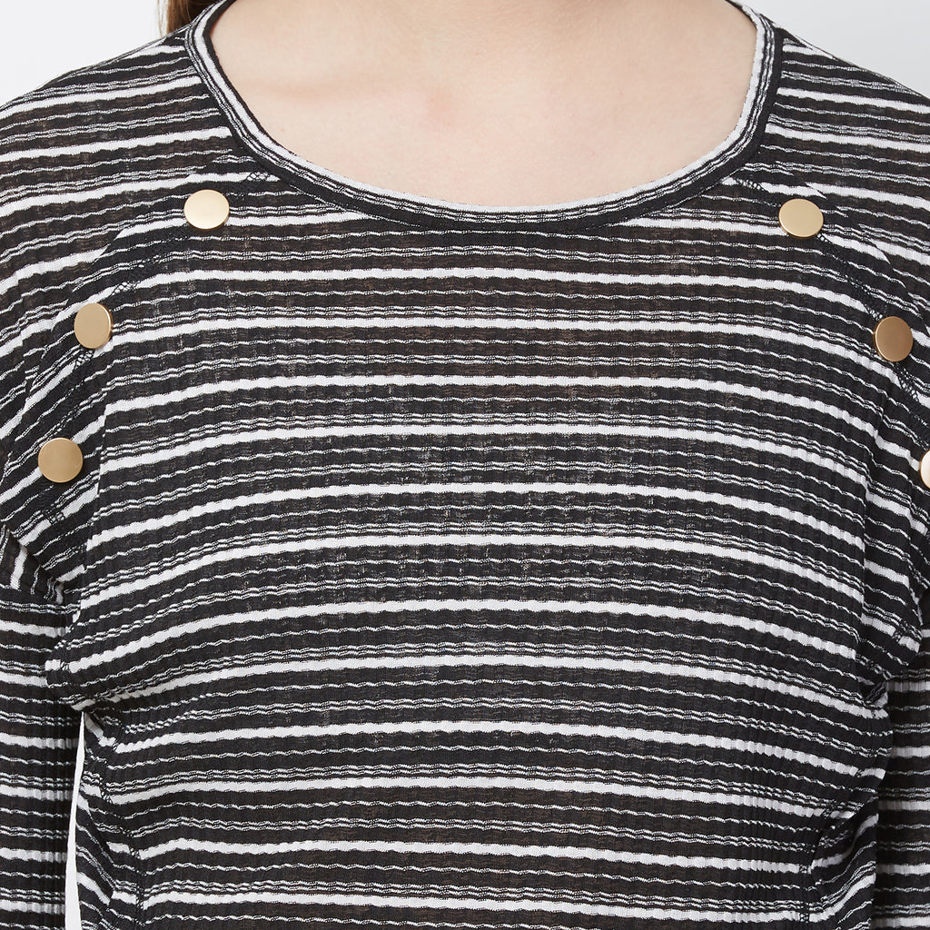 Black round neck top with buttons at front