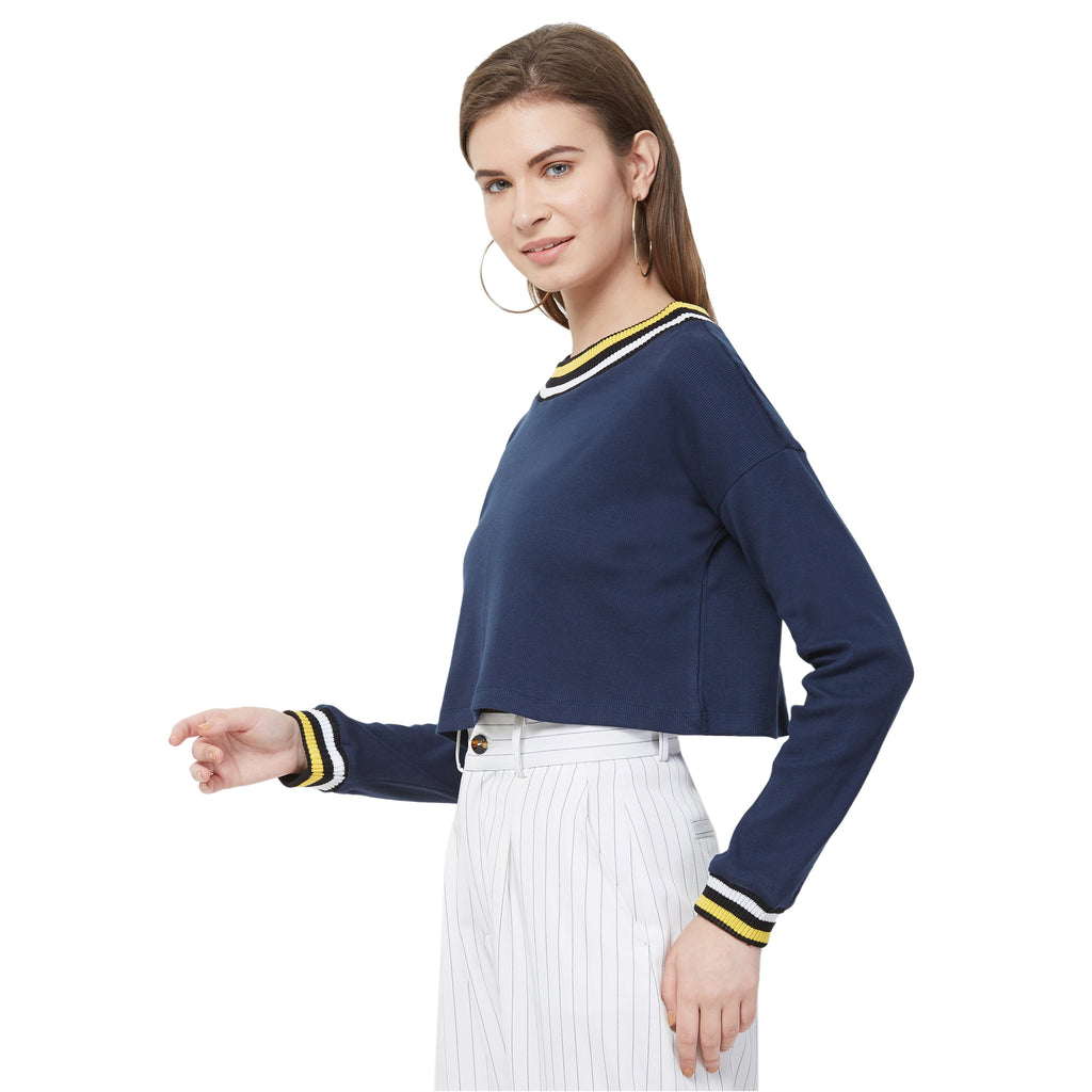 Navy Round neck top with Rib at neck & slv cuff