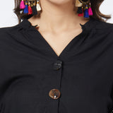 Black Blouse with Handwork & Fancy buttons detail