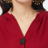 Maroon Blouse with handwork & fancy buttons detail