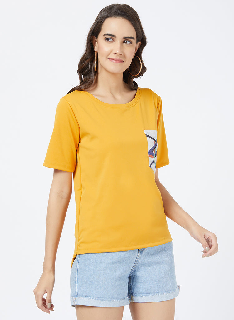 T Shirt with Patch Pocket