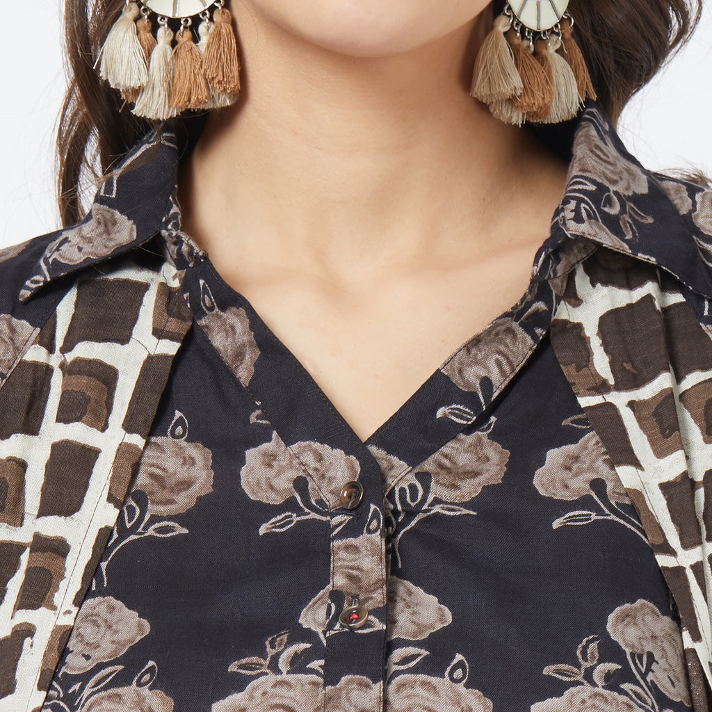 Black mix & match printed top