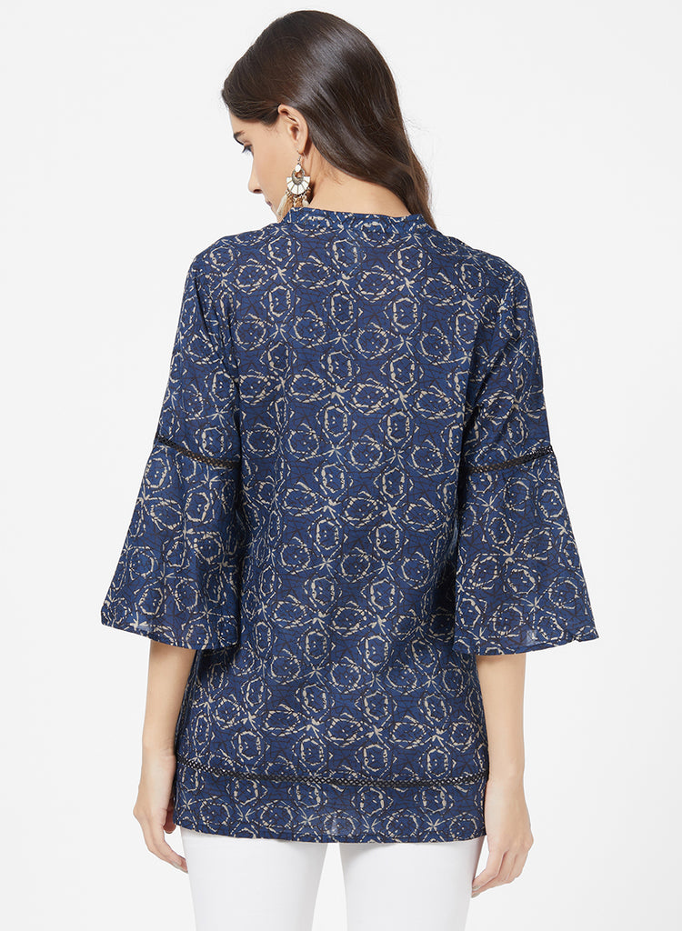 Allover Print Tuinc with lace