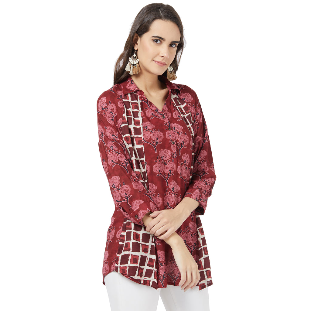 Maroon mix & match Printed Top