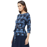 Blue floral printed top with belt detail