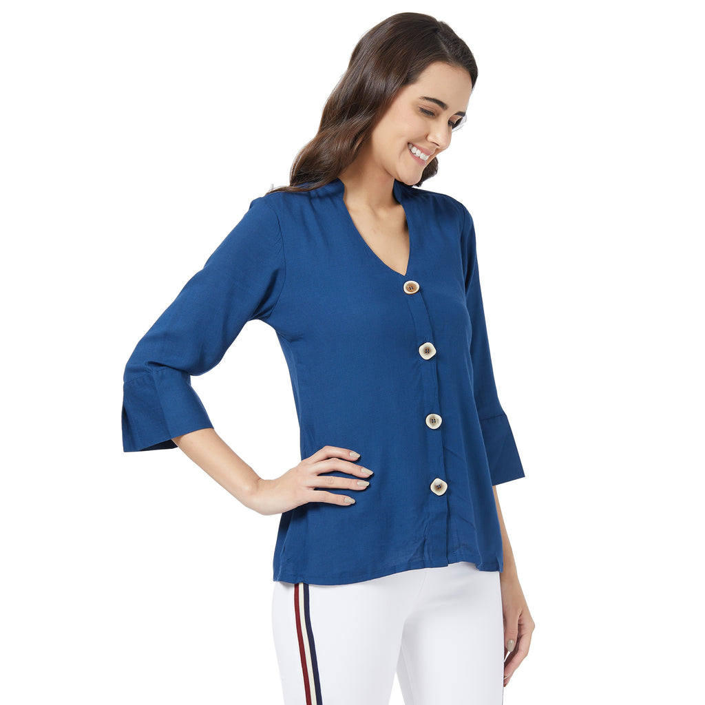Buttoned blue basic top