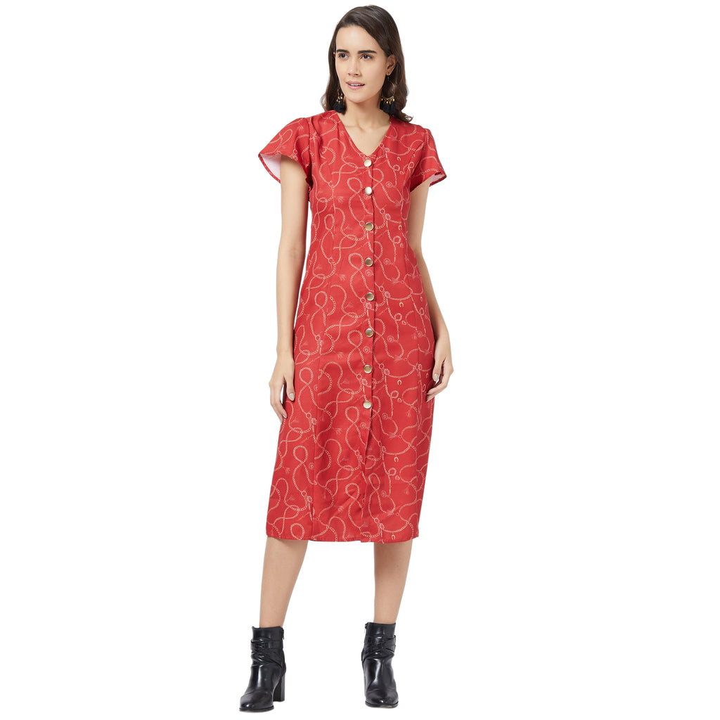 Red printed relaxed dress