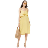Yellow solid strappy layer dress
