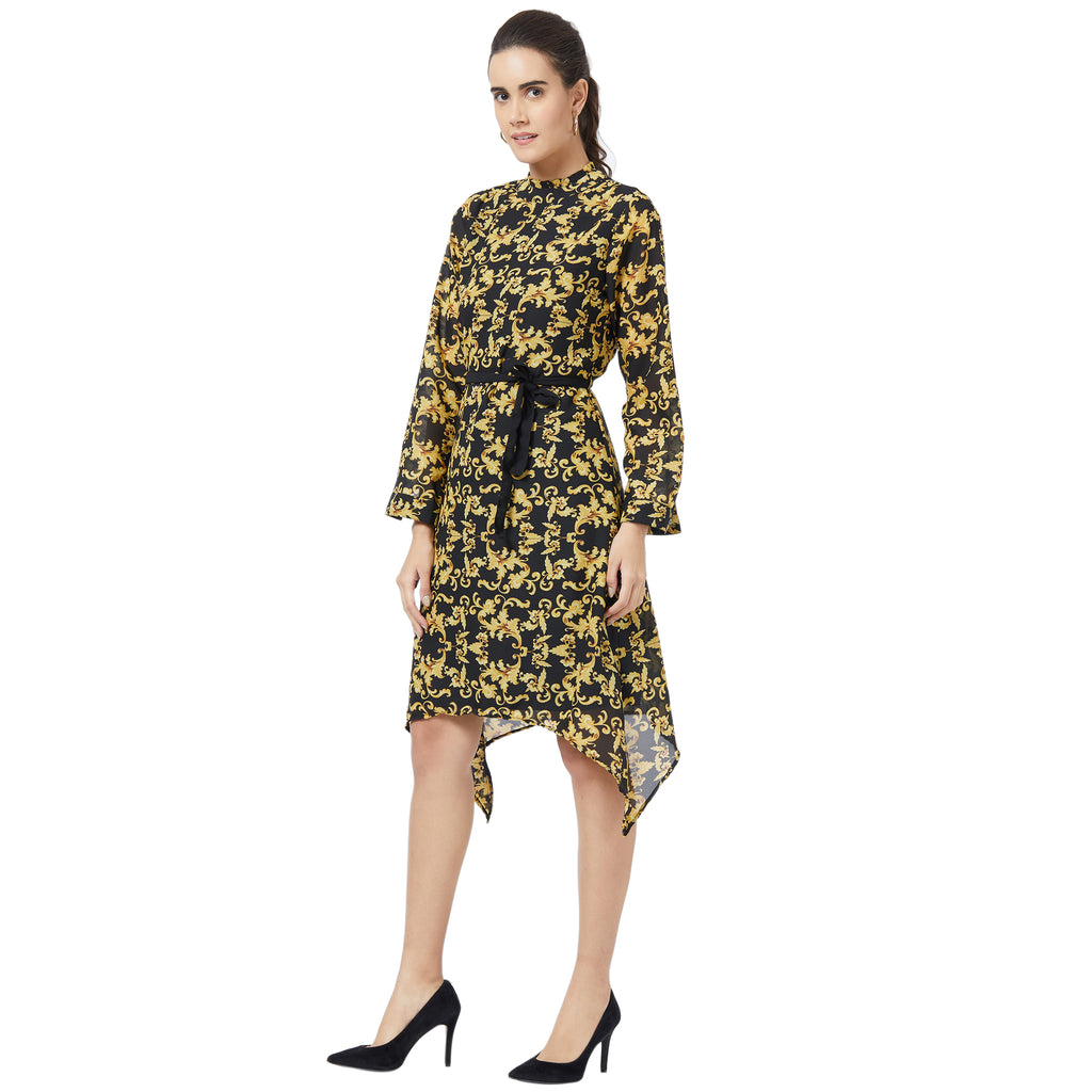 Baroque print Black Dress