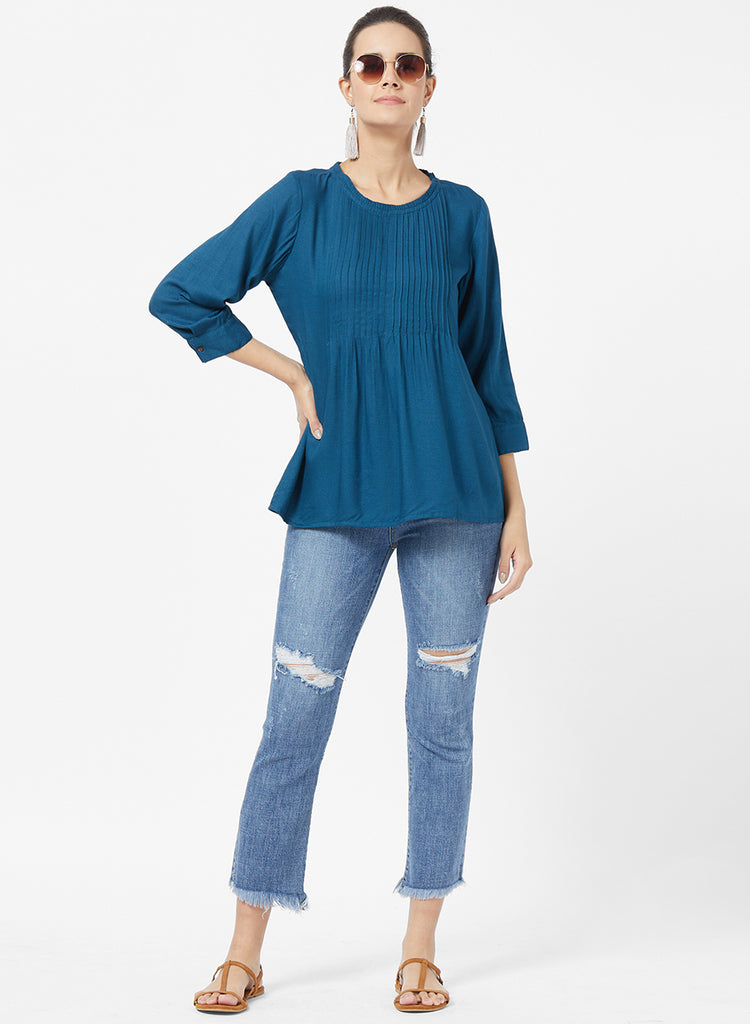 Solid Tunic with pintucks
