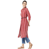Printed Long tunic with leather belt