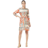Printed shirt dress with self belt
