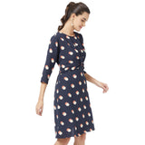 Polka fit and flare dress with front twist