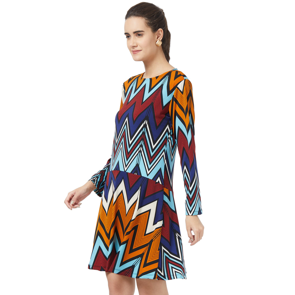 Fit and Flare Chevron print dress