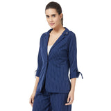 Casual stripe blazer with braoch