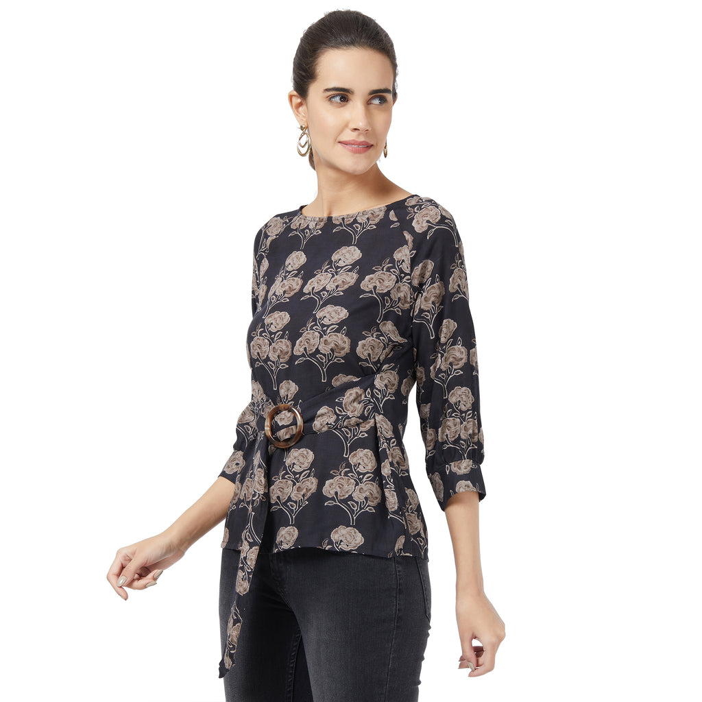 Black floral printed top with belt detail