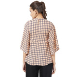 Pink check top with fron tie