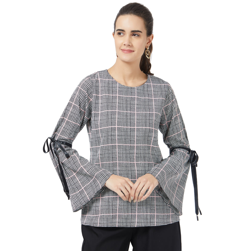 Houndstooh print top with  tie up bell sleeves
