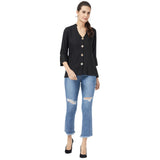Buttoned Black Basic top