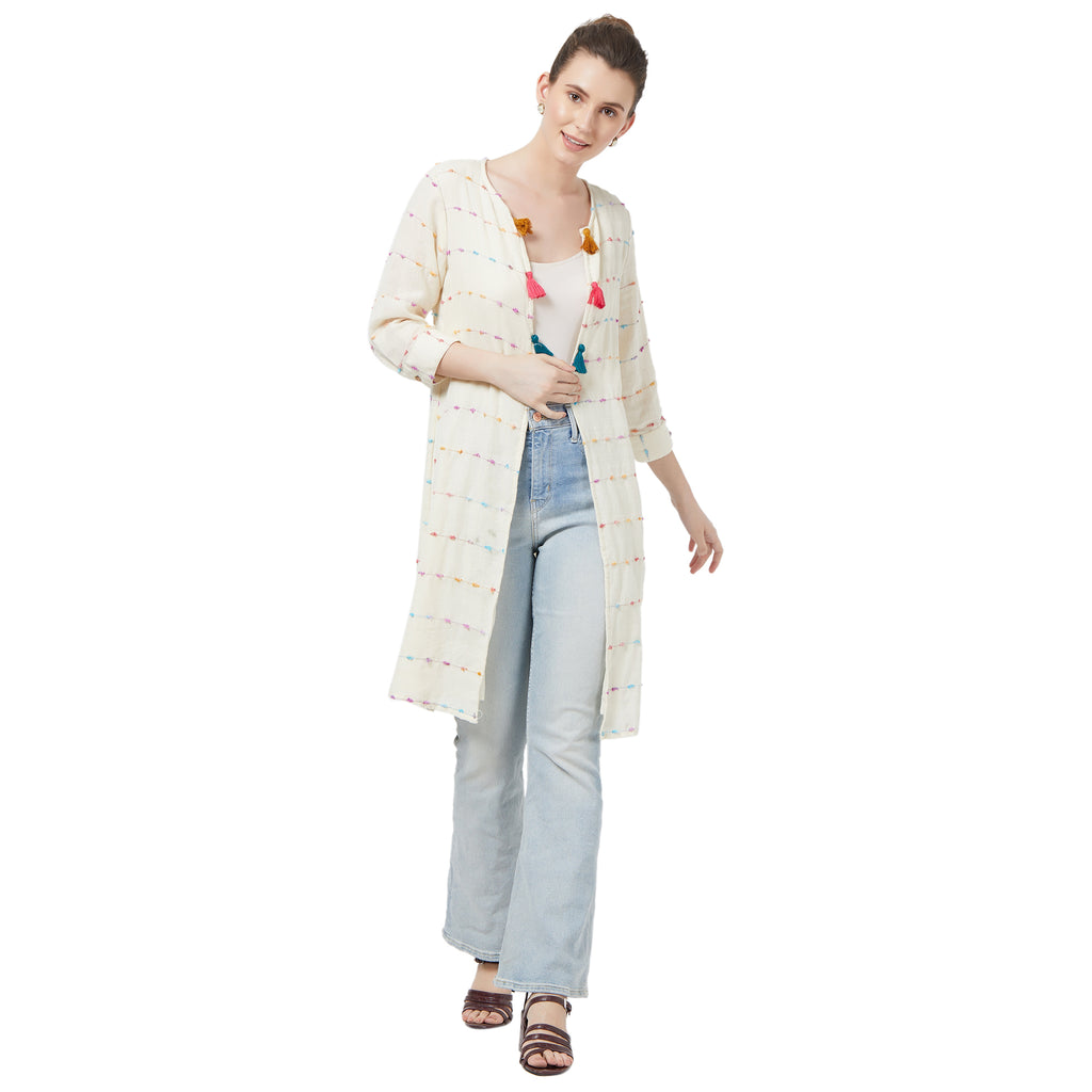 Offwhite  jacket with lining & tassel detail