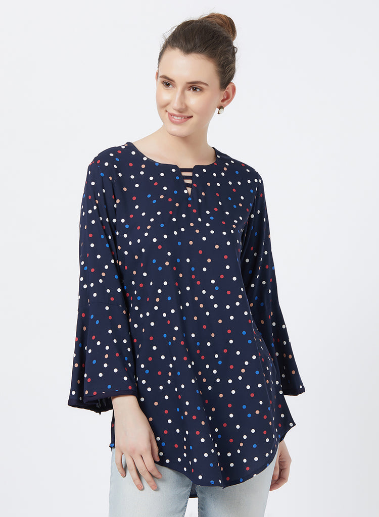 Polka top with bell sleeves