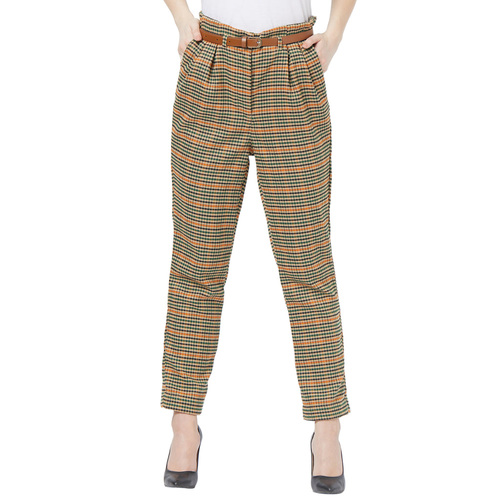 Houndstooth bow trouser with leather belt