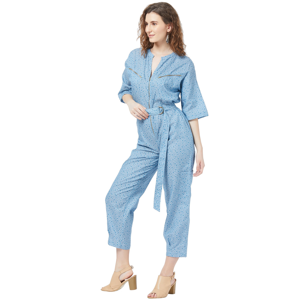 Denim jumpsuit with zippers