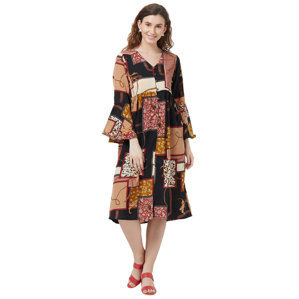 Patch work printed relaxed dress