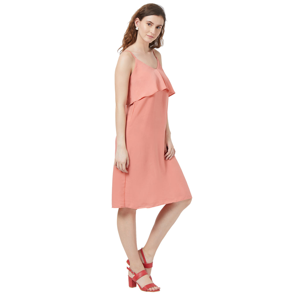 Pink solid strappy layer dress