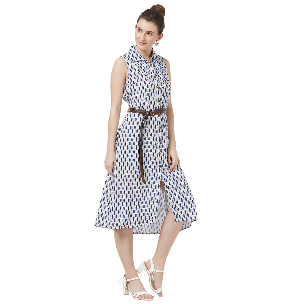 Sleevless shirt dress wih belt