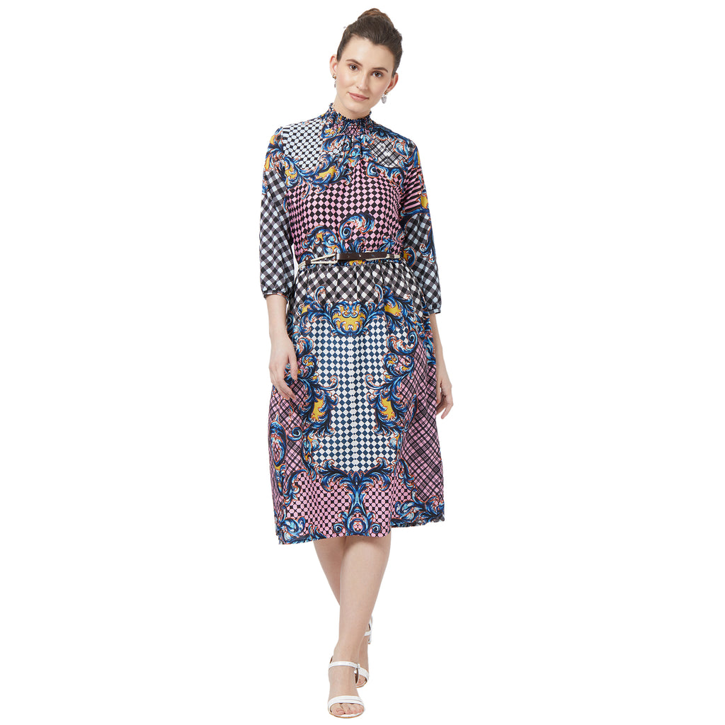 Blue printed Smocked  dress with leather belt
