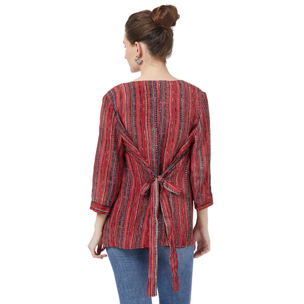 Red printed wrap jacket with inner