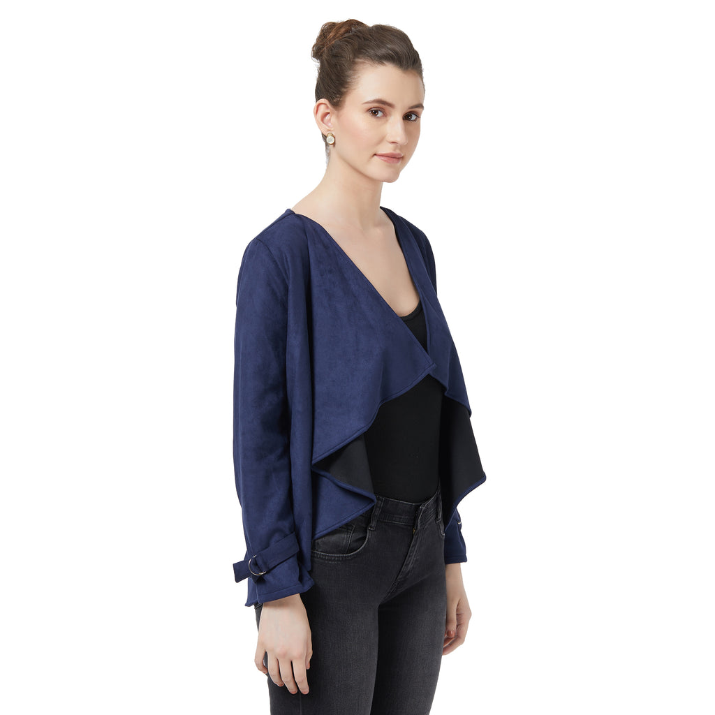 Blue suede waterfall jacket