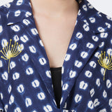 Blue printed jacket with embroidery
