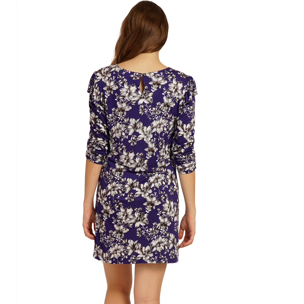 Blue floral bodycon dress
