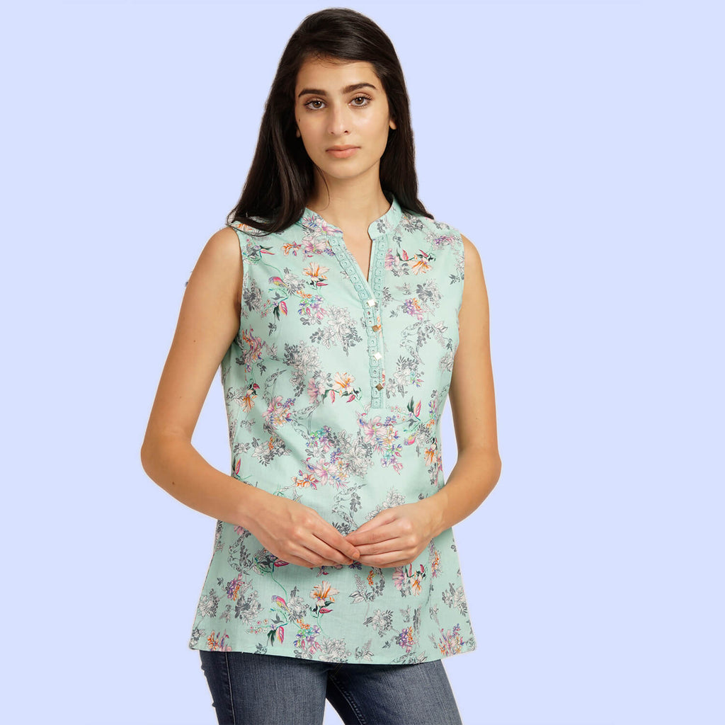 Printed Stylish Top With V Neck Drop