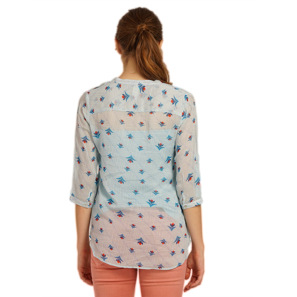 Blue Printed Top With Tussals Detail