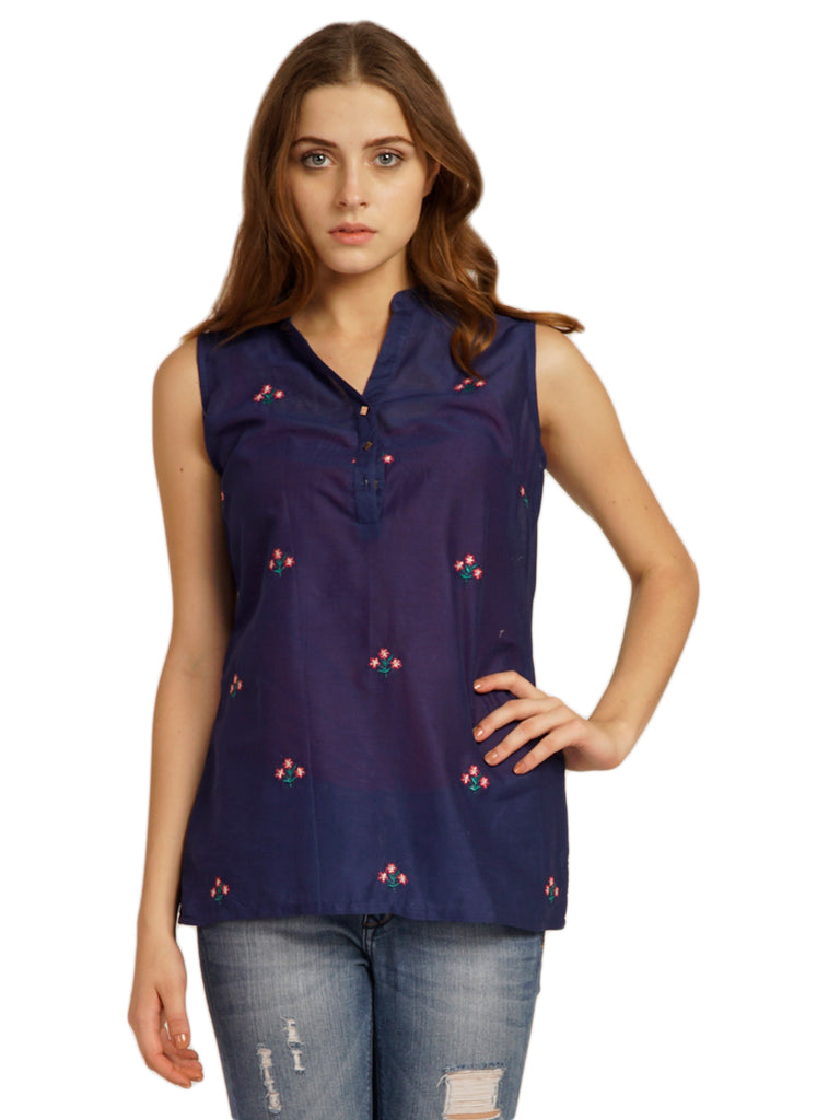 Front Embroidered Stylish Cambric Top