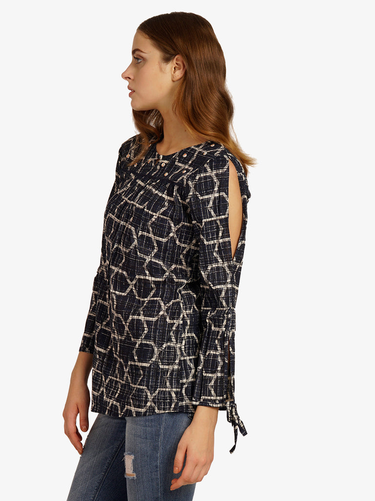 Indigo Print Top With Bead Details