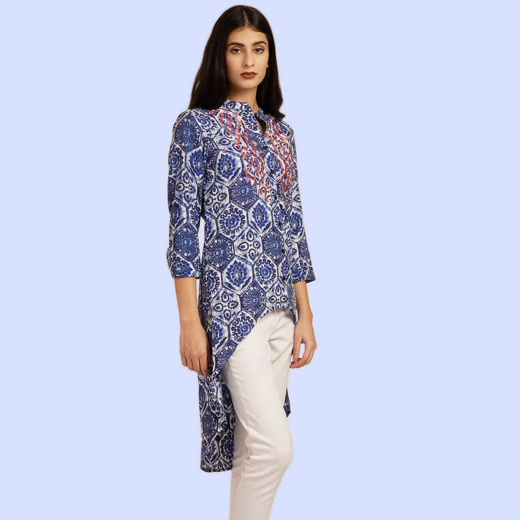 Indigo Print Tunic With High-Low Hem