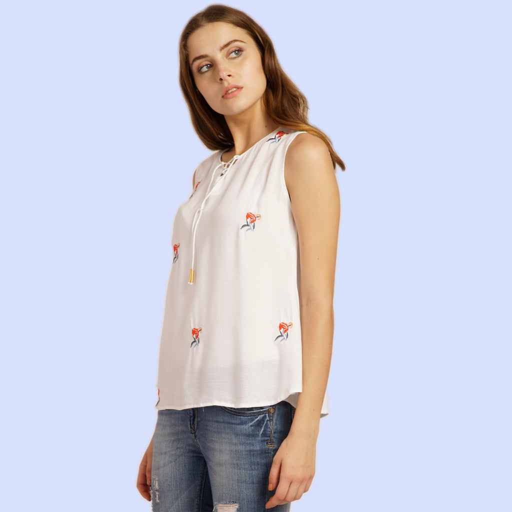 Embroidery Flared Top