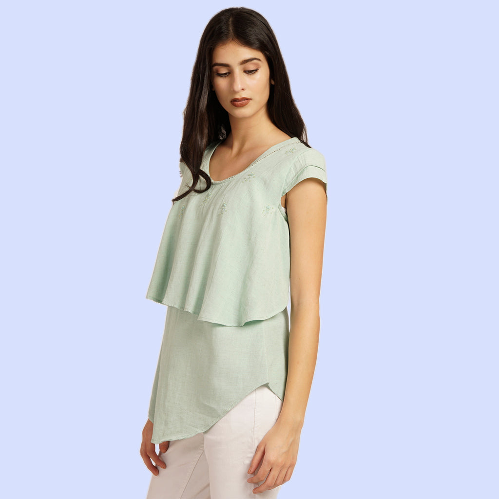 Solid Hue Top With Hand Embroidered