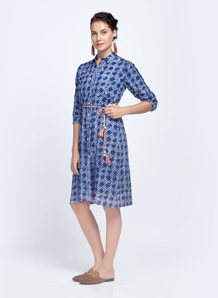 Rayon linen shibori print shirtdress with belt