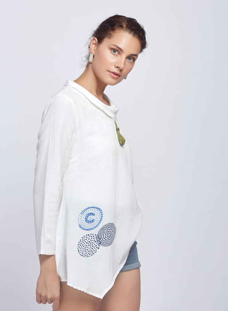 Rayon linen block printed asymmetric top