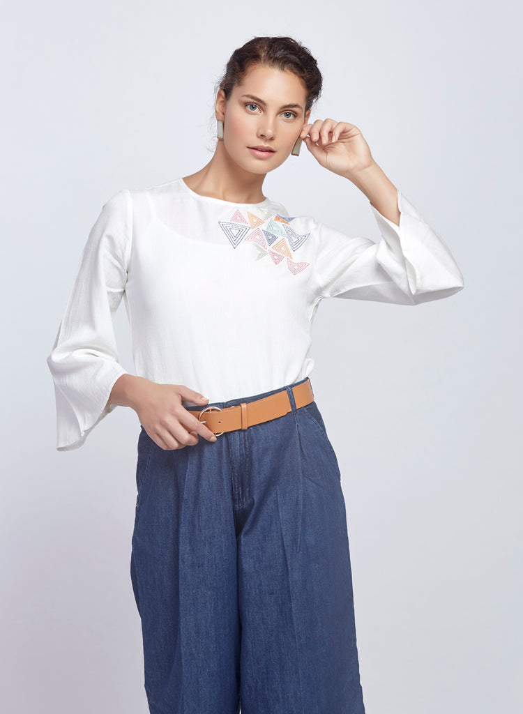 Bell sleeve crop top with Embroidery