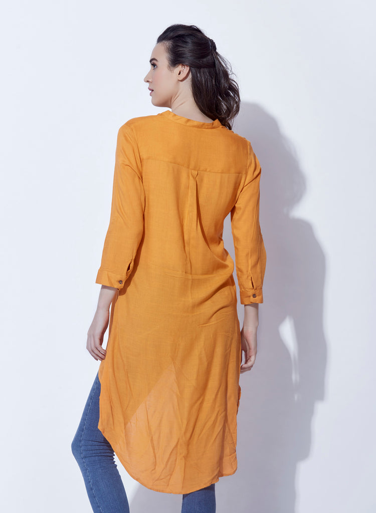 Rayon slub solid tunic with embroidery