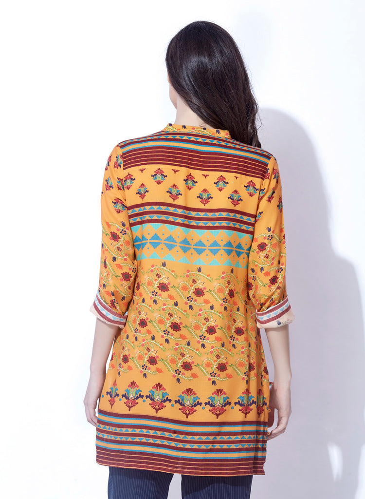 Rayon Slub printed tunic with handwork