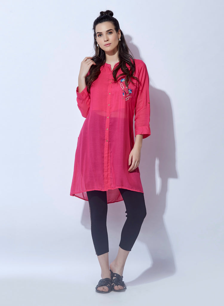 Solid tunic with embroidery