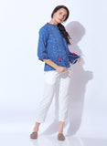 Washed Denim Peplum Top