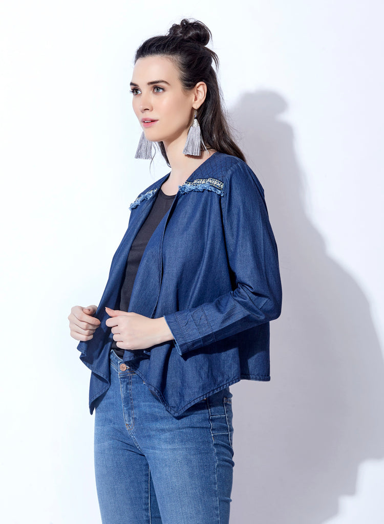 Washed Denim Open neck Shrug